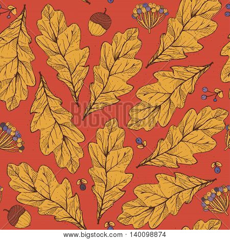 Vector seamless texture with leaves and flowers on red background. Hand drawn graphic illustration with berries acorns with yellow and purple accents. Pattern good for fabric print autumn design.