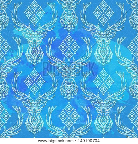 Ornament deer vector pattern. Beautiful illustration tracery for design, print clothing, stickers, tattoos, Adult Coloring book.