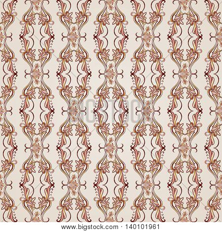 Seamless pattern with florid elements brown and rose pink shades
