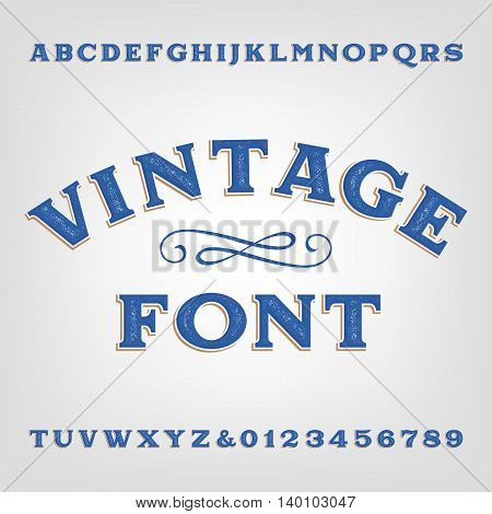 Vintage alphabet font. Scratched type letters and numbers. Vector typeset for labels, titles, posters etc.