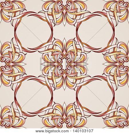 Seamless pattern with floral elements weaving. Illustration in burgundy pink light brown and yellow shades on pastel rose pink background