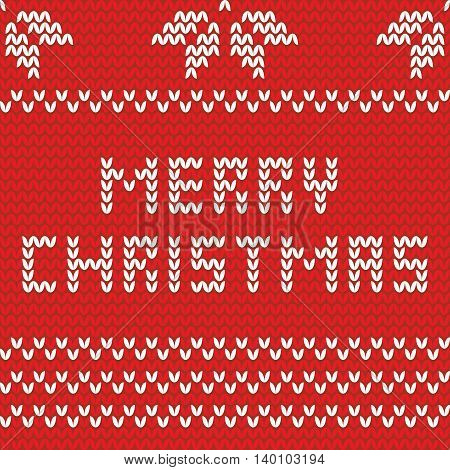 Merry Christmas red and white knitting vector card or jumper with wishes