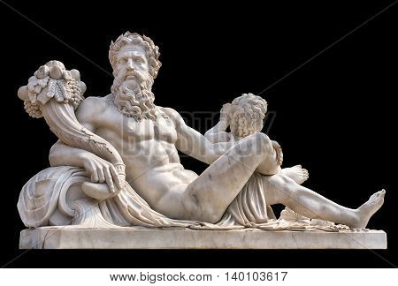 Marble statue of greek god with cornucopia in his hands isolated on black background