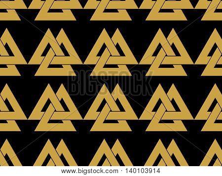 Seamless Pattern With The Symbol Of The God Odin. Valknut. Vector Illustration.