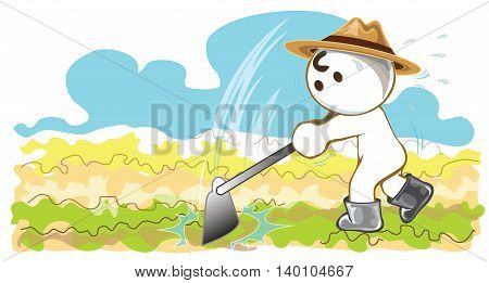 Farmers using hoes to planting vegetables cartoon pantomime cute acting design