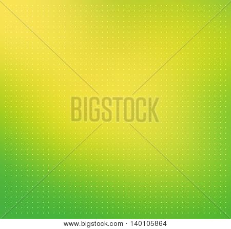 Green-yellow color blurred abstract vector background. Smooth gradient backdrop with transparent white dots texture overlay