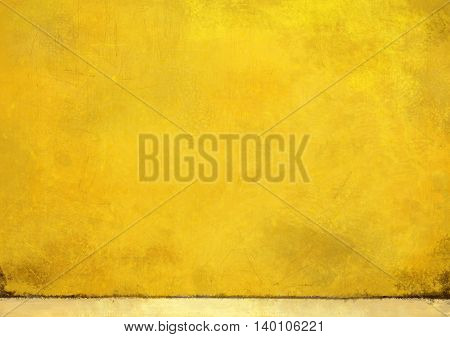 Yellow wall with scratched lines grungy textured background