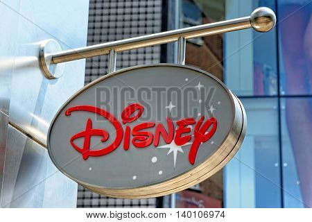 LONDON UK - JULY 1 2014: Disney Store exterior view in Oxford Street London. Disney Store chain was founded in 1987 and has 479 locations.
