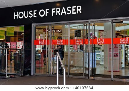 LONDON - JULY 1 2014: The British department store House of Fraser during the Sale period.