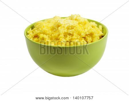 Russian National food - millet porridge with pumpkin filling, poured melted butter. Isolated on white background