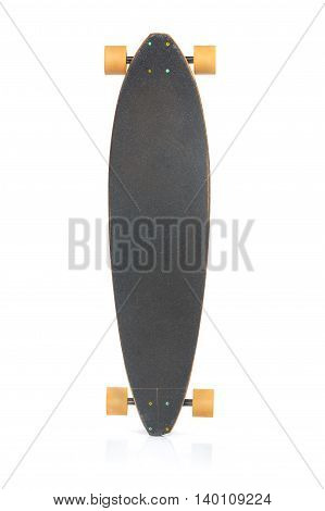 The skateboard on a white background upright