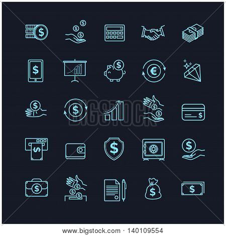 Money icons set. UI money elements on a black background for your design