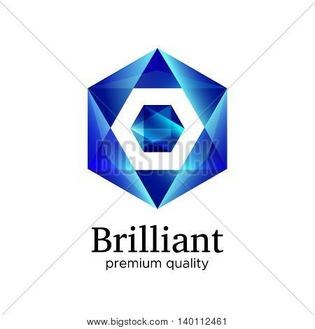 Blue shiny polygonal hexagon diamond logo vector design concept. Modern geometric gem crystal icon isolated on white background