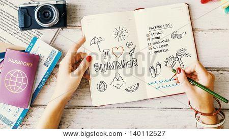 Summer Beach Vacation Planning Journal Concept