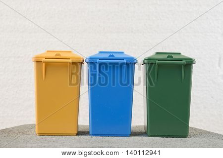 Set of recycle garbage bins, waste separation concept poster