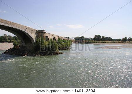 Ancient bridge of the city Saint Esprit in France