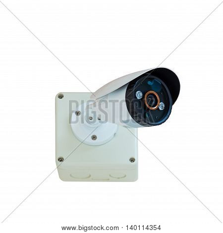 CCTV security camera isolate on white background with clipping path poster