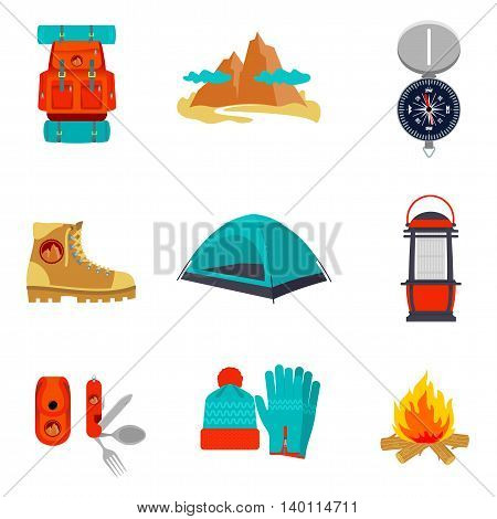Set of camping equipment icons and symbols, sketch style vector illustration isolated on white background. Backpack tent compass lantern hiking boots fire pocket knife hat and gloves