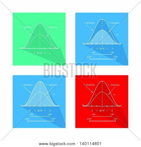 Flat Icons Collection of Gaussian Bell Curve or Standard Normal Distribution Curve.