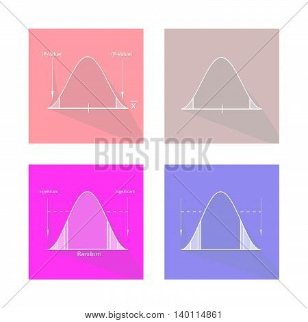Charts and Graphs Illustration Set of Gaussian Bell Curve or Standard Normal Distribution Curve.