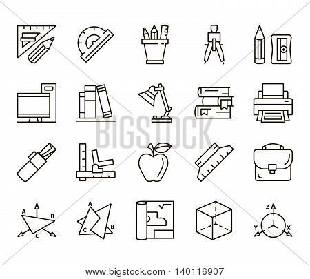 Plotting and descriptive geometry. Back to school. set of linear icons on a white background