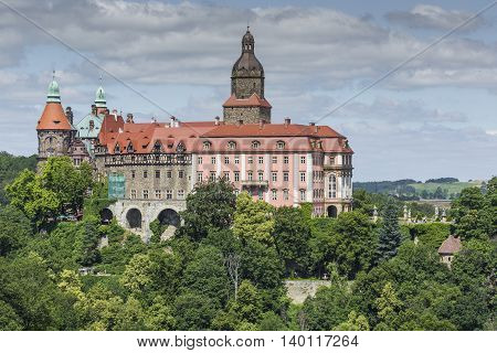 Walbrzych, Poland - July 07, 2016: Castle Ksiaz In Walbrzych, In Poland. The Castle Was Built In 128