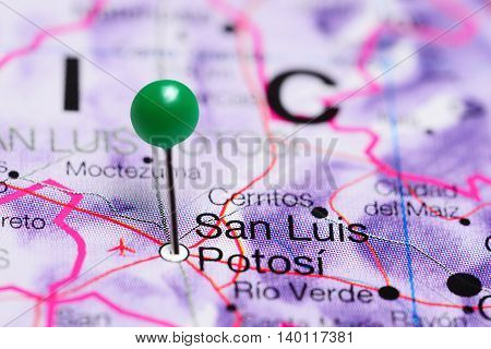 San Luis Potosi pinned on a map of Mexico
