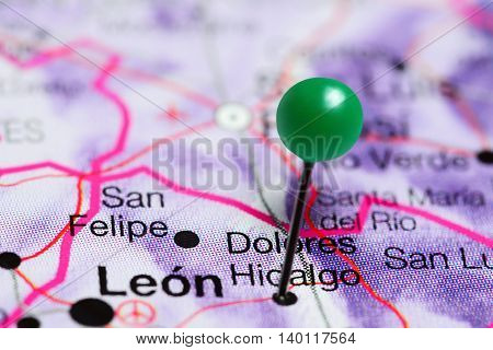 Dolores Hidalgo pinned on a map of Mexico