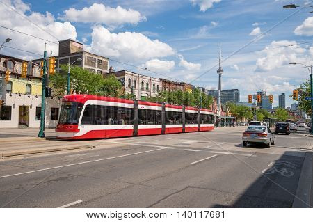 Toronto, Canada - 2 July 2016: Toronto Streetcar System Is Operated By Toronto Transit Commission (t