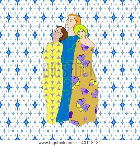 Girls Draped patterned fabrics illustration on pattern background