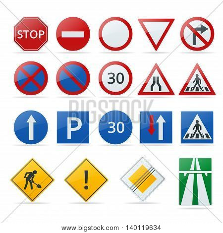 European traffic signs collection. Signs of danger. Mandatory signs. Signs of obligations. Signs of alerts