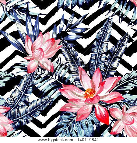 Watercolor flower lotus with of trendy blue floral plant jungle tropic palm tree and banana leaf. Print wallpaper paradise summer hand drawn vector seamless pattern. Black and white zig zag background