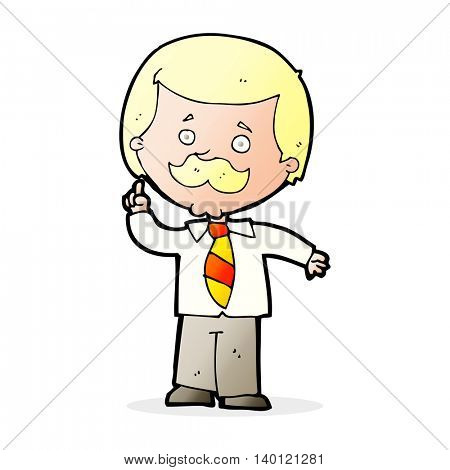 cartoon newsreader man with idea