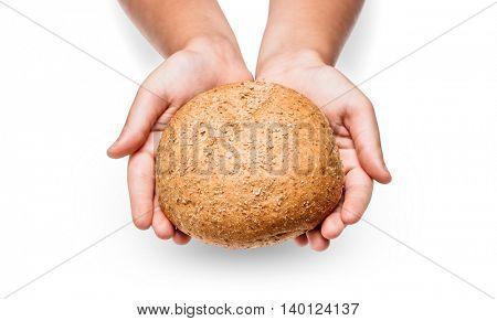 Children hand with bread