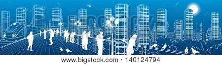 City life amazing panorama. Urban skyline, people watching from the bridge to the night megalopolis, train move, infrastructure and transportation illustration, vector design art
