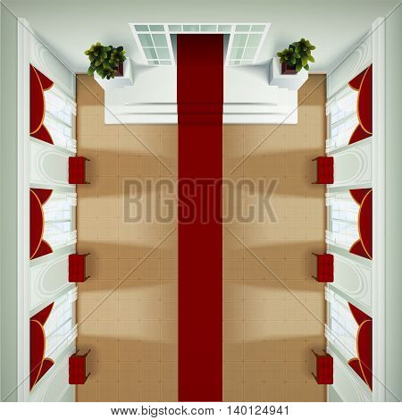 Top view of theater club or hotel foyer interior with red carpet banquette and portieres realistic vector illustration