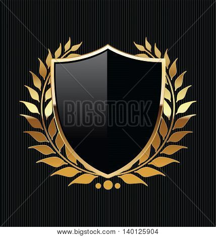 Gold And Black Shield With Gold Laurels.eps