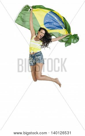 Brazilian Supporter With A Brazilian Flag In Support.