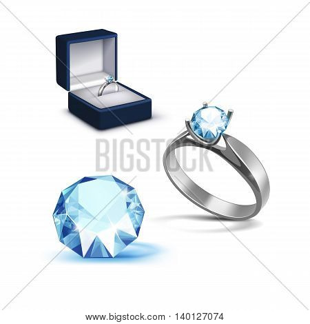 Vector Silver Engagement Ring with Light Blue Shiny Clear Diamond in Blue Jewelry box Close up Isolated on White Background