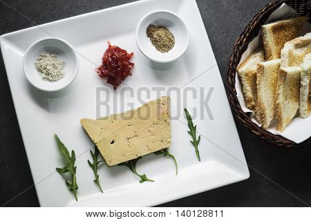 traditional french foie gras duck pate and toast starter snack platter