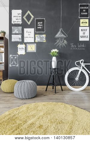 Interior With Blackboard Wall Idea