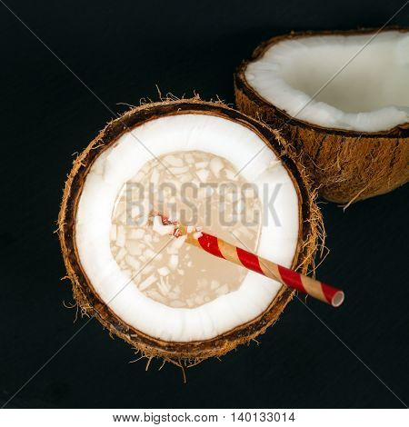 Fresh Coconut Water with Pulp. Selective focus.