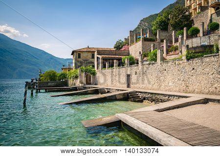 Old pier on Lake Garda in Limone del Garda.