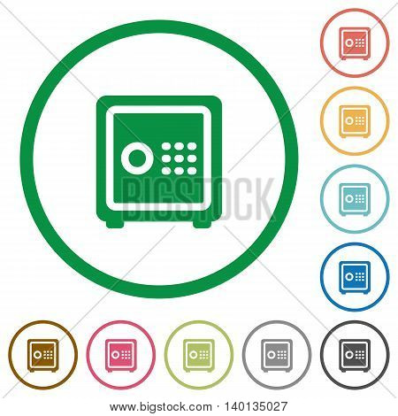 Set of Strong box color round outlined flat icons on white background