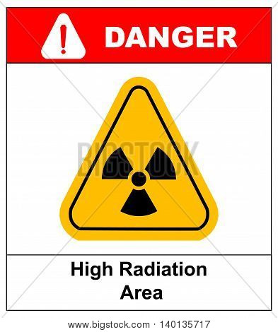 Triangle yellow radiation hazard symbol with text high radiation area isolated on white background danger banner with exclamation point
