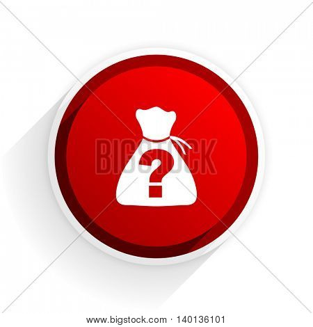 riddle flat icon with shadow on white background, red modern design web element
