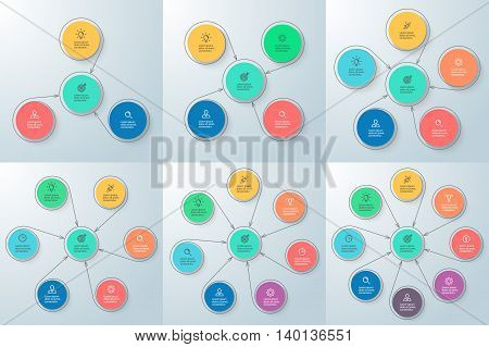 Business infographics with central element. Chart, diagram, scheme, graph with 3 4 5 6 7 8 steps options parts with arrows Vector design elements
