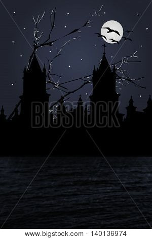 Dark night scene illustration depicting a castle at riverfront with moonscape at background