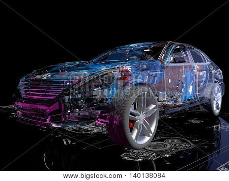 Model cars on the background of the drawing.,3d render