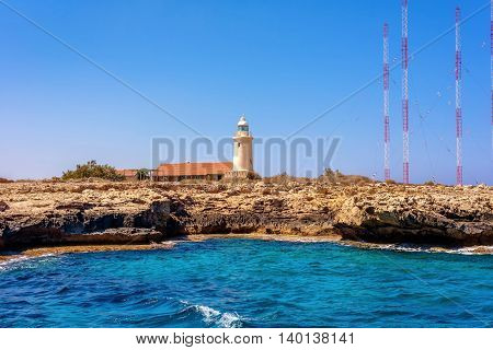 Lighthouse at Cape Greco. Famagusta District Cyprus.